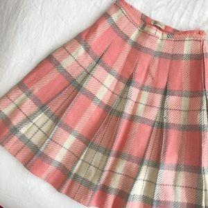 70s Pink Plaid Midi Skirt